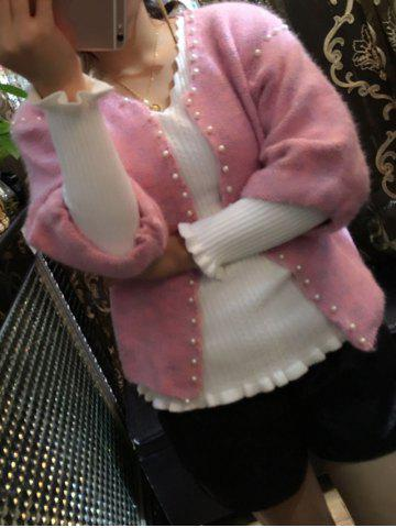 Outfits Collarless Beaded Cardigan