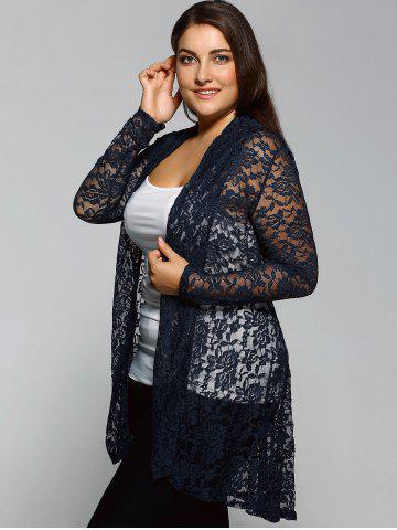 Outfits Collarless Plus Size Cut Out Lace Blouse - 3XL CADETBLUE Mobile