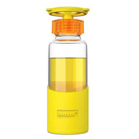 Fashion 420ML Faucet Valve Cover Transparent Water Glass With Silicon Case YELLOW