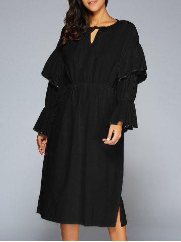 Hot Flare Sleeve Midi Dress