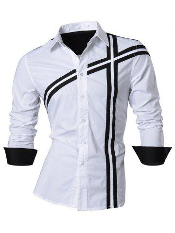 Outfits Slim Fit Long Sleeve Cross Striped Shirt