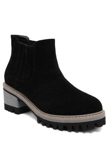 Cheap Chunky Heel Suede Ankle Boots BLACK 38
