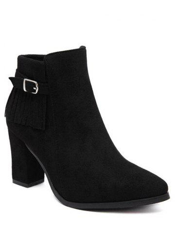 Best Pointed Toe Fringe Chunky Heel Ankle Boots