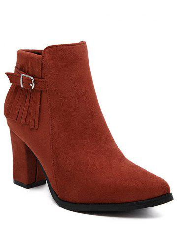Pointed Toe Fringe Chunky Heel Ankle Boots - RED 39