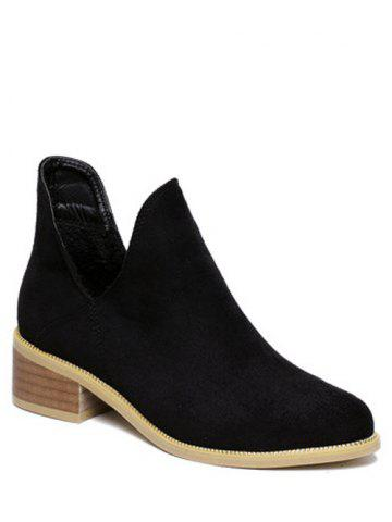 Outfits Slip On Cut Out Suede Ankle Boots
