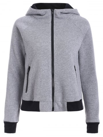Affordable Two Tone Zip Up Hoodie GRAY L