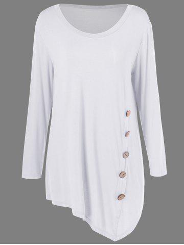 Fashion Plus Size Inclined Buttoned Blouse - WHITE 2XL Mobile