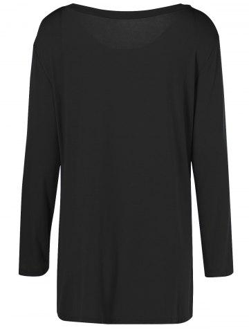 Unique Plus Size Inclined Buttoned Blouse - 2XL BLACK Mobile