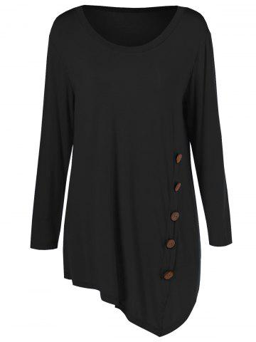 Plus Size Inclined Buttoned Blouse - Black - Xl