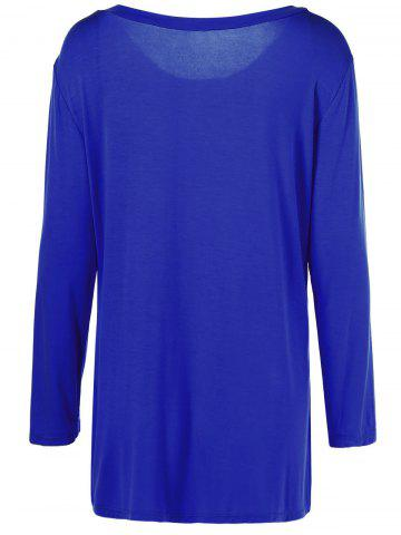 Cheap Plus Size Inclined Buttoned Blouse - 5XL BLUE Mobile