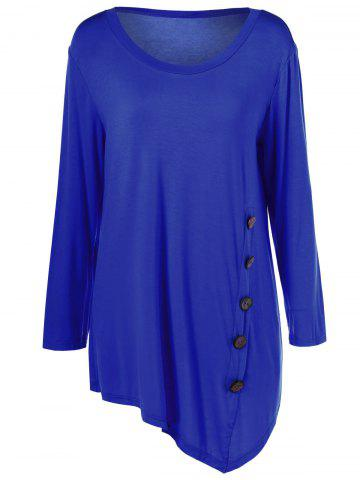 Chic Plus Size Inclined Buttoned Blouse - 2XL BLUE Mobile
