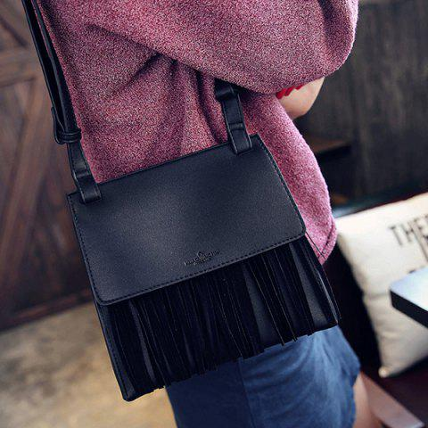 Outfits Letter Embossed Faux Leather Fringe Bag