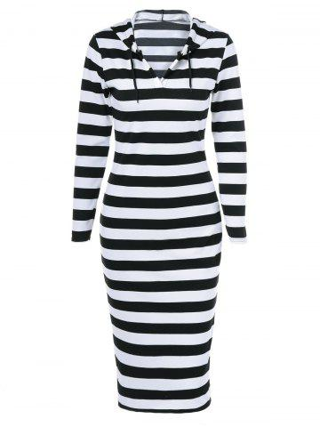 Trendy Midi Stripe Fitted Hooded Long Sleeve Dress WHITE AND BLACK 2XL