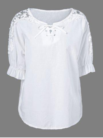 Outfits Openwork Lace Up Blouse