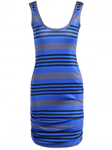 Trendy U Neck Striped Casual Bodycon Dress