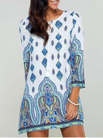 Buy Tribal Printed Spring Casual Tunic Dress - L BLUE Mobile