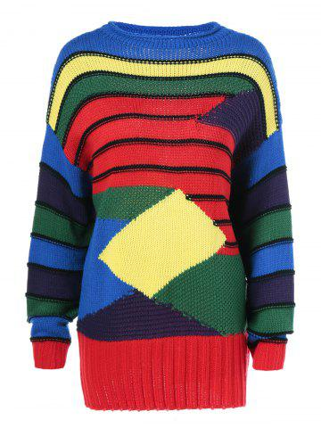 Outfit Geometrical Color Block Striped Pullover Sweater