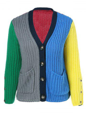 Chic Double Pockets Color Block Cardigan