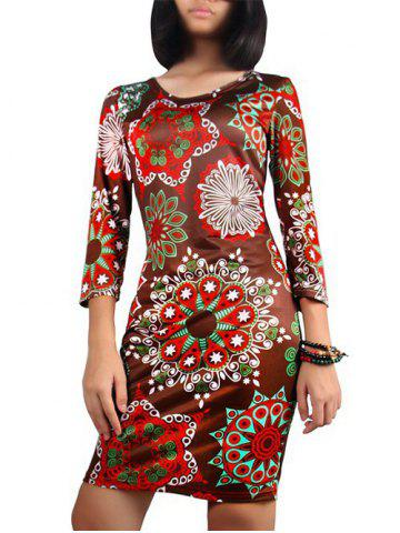 Fancy Printed Party Pencil Dress