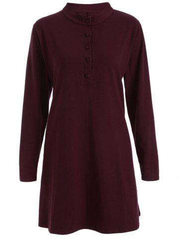 Store Round Neck Pleated Dress WINE RED 4XL