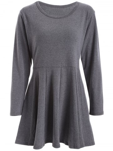 Latest Scoop Neck Pleated Dress DEEP GRAY 5XL
