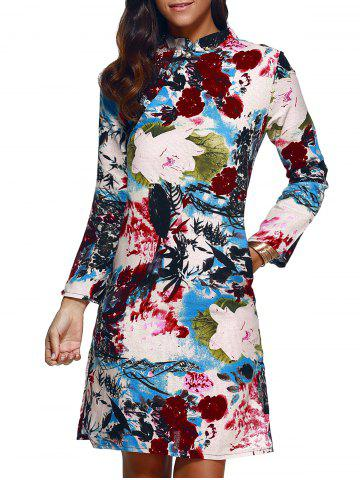 New Blossom Print Side Slit Chinese Dress
