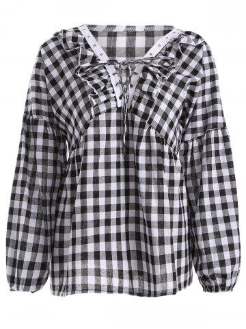 Cheap Puff Sleeve Plaid Lace-Up Blouse