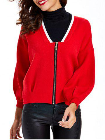 Hot Zipper Design Textured Contrast Color Cardigan
