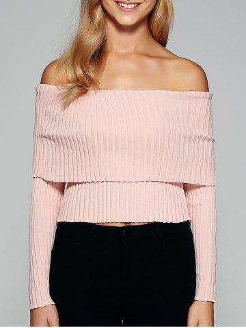 Best Foldover Off The Shoulder Sweater PINK M