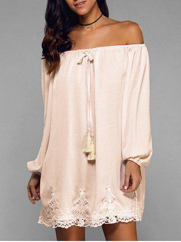 Fashion Off-The-Shoulder Laciness Tassel Dress APRICOT XL