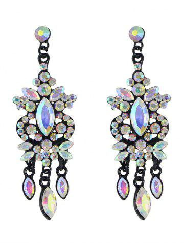 Chic Rhinestone Faux Gem Layered Drop Earrings