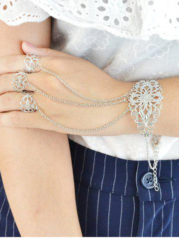 Outfit Vintage Flower Crucifix Bracelet With Ring - SILVER  Mobile
