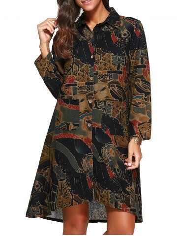 Outfits Loose Asymmetric Abstract Print Shirt Dress COLORMIX L