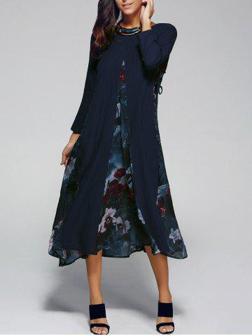 Latest Flower Print Spliced Swing Dress