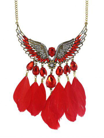 Best Water Drop Angel Wings Feather Necklace RED