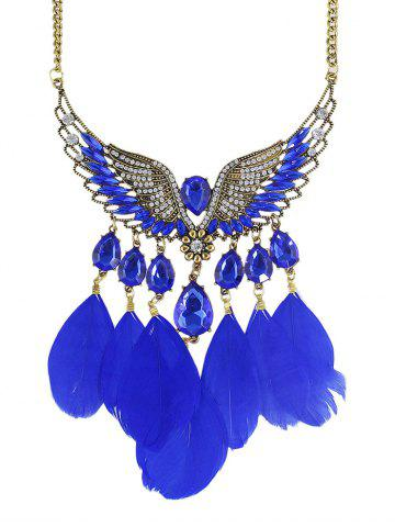 Outfit Water Drop Angel Wings Feather Necklace DEEP BLUE