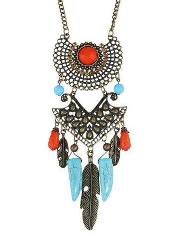 Hot Faux Gem Feather Layered Necklace