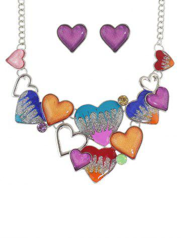 Best Faux Gem Heart Necklace and Earrings COLORMIX
