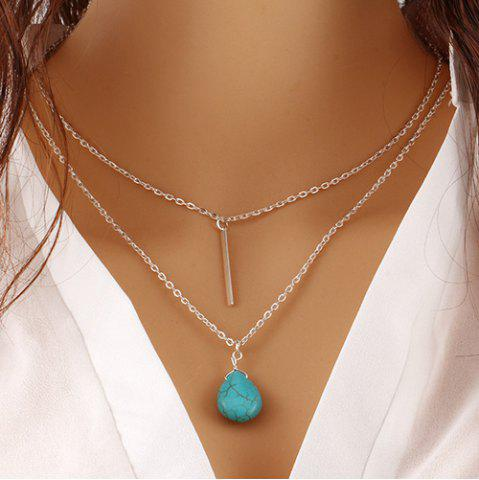 Fashion Faux Turquoise Water Drop Bar Layered Necklace SILVER