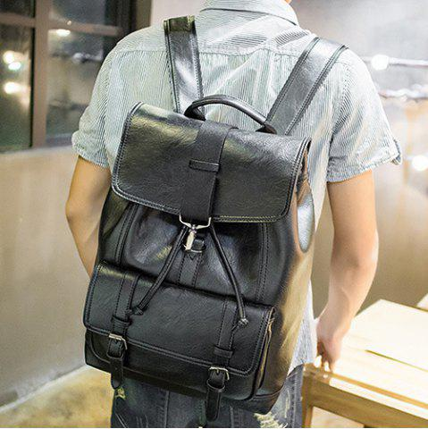 Outfit Buckle Strap Drawstring Backpack - BLACK  Mobile
