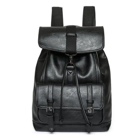 Cheap Buckle Strap Drawstring Backpack BLACK