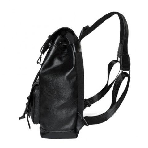 Outfits Buckle Strap Drawstring Backpack - BLACK  Mobile