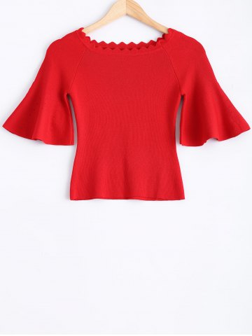 Store Knit Wave Cut Flare Sleeves T-Shirt