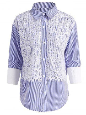 Online Buttoned Striped Plus Size Lace Shirt AZURE 4XL