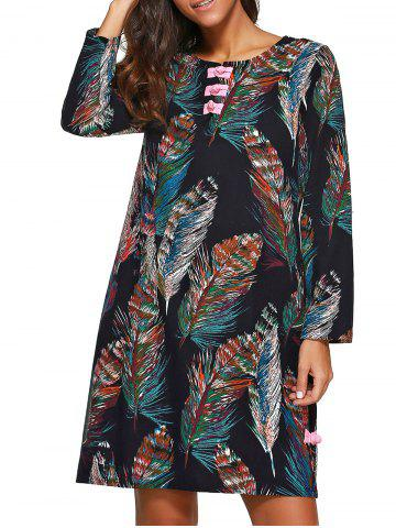 Fashion Feather Print Long Sleeves Shift Dress