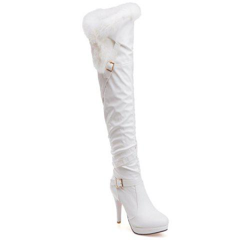 Store Platform Double Buckle Faux Fur Thigh Boots