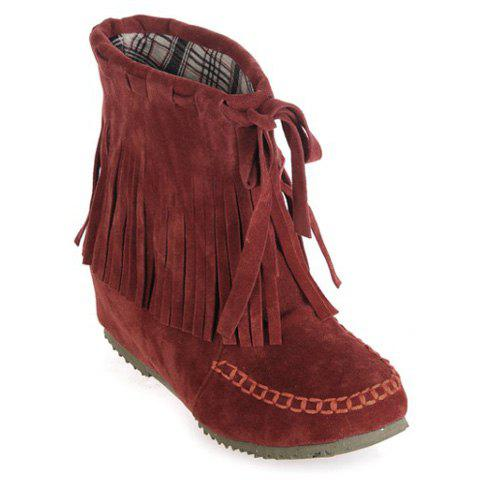 Fancy Suede Fringe Stitching Short Boots