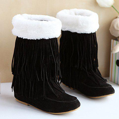 Best Hidden Wedge Fringe Suede Boots BLACK 39