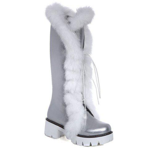 Shop Platform Faux Fur Tie Up Boots SILVER 39