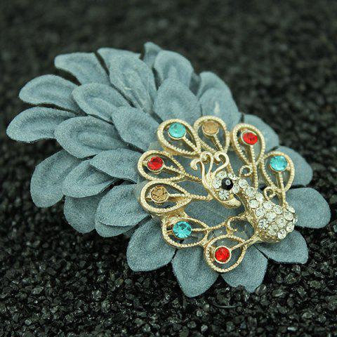 Hot Faux Leather Filigree Peacock Brooch - LIGHT BLUE  Mobile